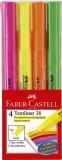 FABER-CASTELL Textmarker 38 Stiftform - 4 Farben im Etui Textmarker pink, orange, gelb, grün