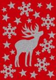 3727 Sticker MAGIC Hirsch - glittery, 24 Stück Weihnachtsetiketten Hirsch silber selbstklebend