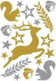 3729 Sticker MAGIC Waldtiere, glittery Weihnachtsetiketten Waldtiere gold, silber permanent haftend