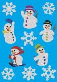 3733 Sticker MAGIC Schneemänner, glittery Weihnachtsetiketten Schneemänner mehrfarbig 11 Stück