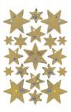 3902 Sticker DECOR Sterne 6-zackig, gold, Holographie Sterne gold permanent haftend 19 Stück