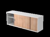 Sideboard 1,5OH beids.nutzbar Weiß/Nussbaum