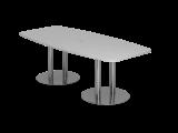 Konferenztisch 220cm Säulenfuß, Grau/Chrom