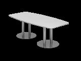 Konferenztisch 220cm Säulenfuß, Weiß/Chrom