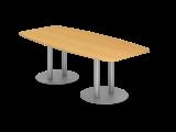 Konferenztisch 220cm Säulenfuß, Buche/Silber