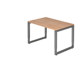 Schreibtisch O-Fuß eckig 120x80cm Nussb./Grap