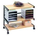 Bürowagen Schwarz/Buche mit 2 Ablageboxen