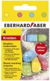 Eberhard Faber Glitzer-Straßenmalkreide 4er Kartonetui Kreide rund 10,1 cm sortiert