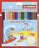 Stabilo® aquacolor® Aquarell-Buntstift - Kartonetui mit 24 Stiften Aquarellfarbstift 2,8 mm 6 mm