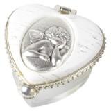Anzmann Rosenkranzdose Engel - herzförmig, 4 x 3 cm Rosenkranzdose Herz weiß/transparent 4 x 3 cm