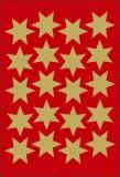 3905 Sticker DECOR Sterne 6-zackig, gold Ø 21 mm Weihnachtsetiketten Sterne gold 21 mm 60 Stück