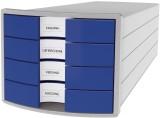 HAN Schubladenbox IMPULS - A4/C4, 4 geschlossene Schubladen, lichtgrau/blau Schubladenbox A4/C4 4