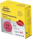 Avery Zweckform® 3858 Bewertungspunkt trauriger Smiley - Ø 19 mm, Spender mit 250 Etiketten, rot