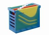 Jalema Hängemappenbox - blau transluszent, gefüllt mit 5 farbigen Hängemappen A4 Hängemappenbox