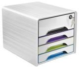 Cep Schubladenbox Smoove 7-311S - A4/C4, 4 geschlossene Schubladen,  weiß/farbig Schubladenbox