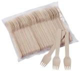 HOSTI® Einweg Holzgabel - 17 cm, 100 Stück Besteck Gabel
