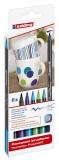Edding 4200 Porzellan-Pinselstift - 1 - 4 mm, cool colour Set, 6 Farben sortiert Porzellanmarker