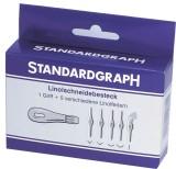Standardgraph Linolschnitt-Besteck 6 tlg. Linolschnittbesteck 1 Griff und 5 Federn