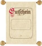 RNK Verlag Gutschein im traditionellen Stil, DIN A5 auf Holzstifte mit Holzkugeln aufgezogen neutral