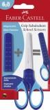 FABER-CASTELL Schulschere GRIP - blau inkl. Klingenschutz Bastelschere für Links- und Rechtshänder
