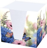 RNK Verlag Notizklotz Hortensie - 900 Blatt, 70 g/qm, weiß, 95 x 95 x 95 mm Zettelbox Hortensie