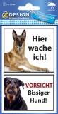 Avery Zweckform® 59388 Warnetikett Hier Wache ich! / Vorsicht Bissiger Hund - wetterfest, sortiert