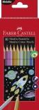FABER-CASTELL Buntstift - 10 Farben metallic Farbstiftetui 10 Farben sortiert - 2,8 mm hexagonal