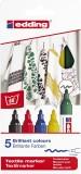 Edding 4500 Textilmarker creative - Rundspitze, 2-3 mm, 5er Set basic colours Textilmarker 2-3 mm
