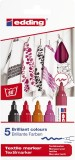 Edding 4500 Textilmarker creative - Rundspitze, 2-3 mm, 5er Set warm colours Textilmarker 2-3 mm