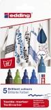 Edding 4500 Textilmarker creative - Rundspitze, 2-3 mm, 5er Set cool colours Textilmarker 2-3 mm