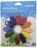 DONAU Wachsmalsteine Tropfen - 12 Farben sortiert, 1 Radierer Unterstützung des Pfötchengriffs