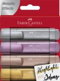 FABER-CASTELL Textliner 46 Metallic - Etui, 4 Farben sortiert Textmarker 4 Farben sortiert