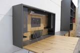 Hammerbacher Wandschreibtisch Mini Office graphit/Asteiche Einfache Selbstmontage graphit/Asteiche
