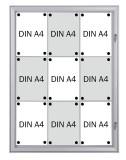 Franken Schaukasten Security - Feuerfest für 9x A4, 74,1 x 100,4 x 2,3 cm inkl. Schloß für 9 x A4